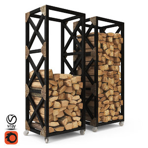 3D firewood storage rack boston model