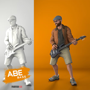 playing bass 3D model