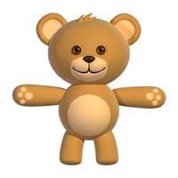 cute teddy character rigging 3D model