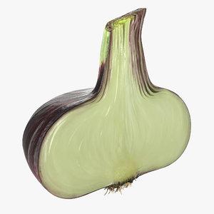 3D model red onion half