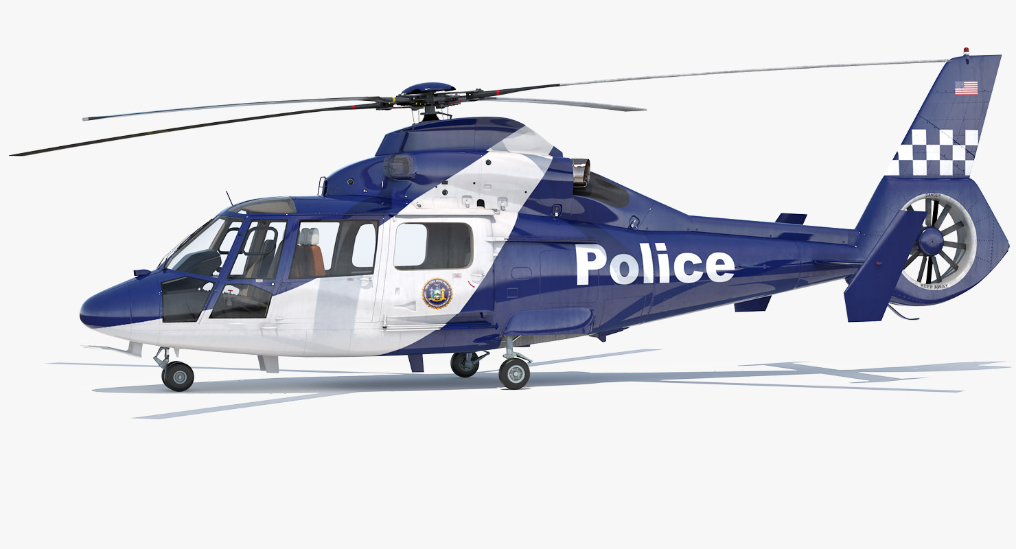 3D police helicopter eurocopter 365 model
