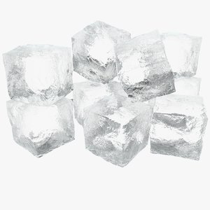 3D ice cubes v-ray