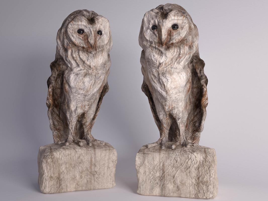 3D owl wooden sculpture model