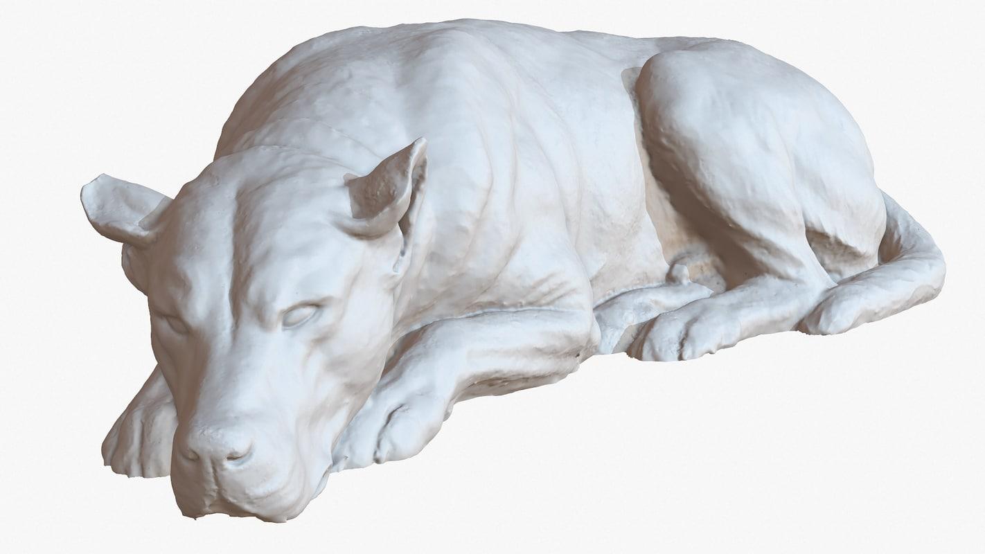 3D sculpture sleeping dog 1m
