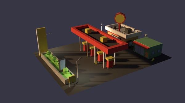 3D filling station gas model