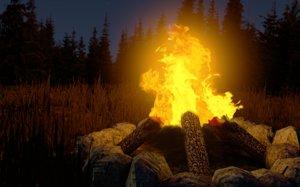 fireplace stone wood 3D model
