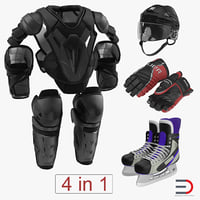 Hockey Protective Gear Kit 4 3D Model