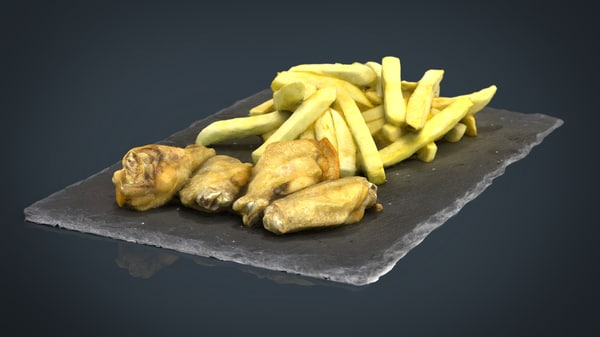 chiken wings fries 3D model