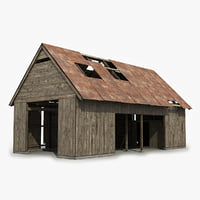 3D wooden shed