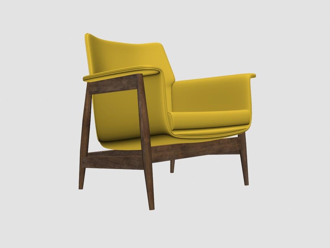 Century modern lounge chair 3d model