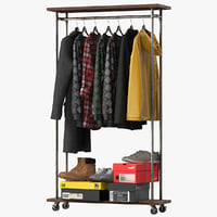 3D industrial clothes rail rack model