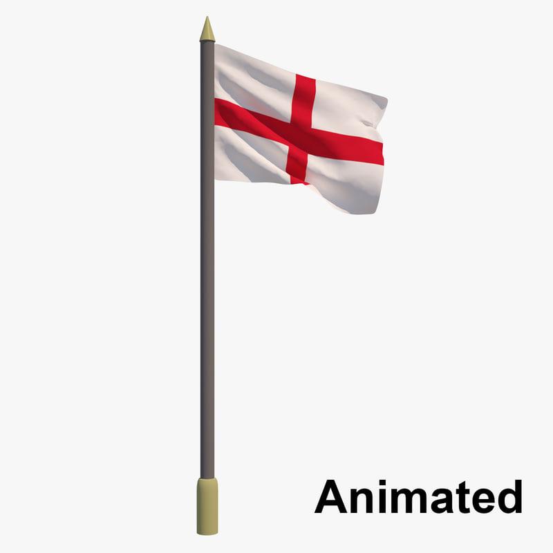 3D flag england - united kingdom model