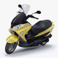 Generic Scooter Motorcycle Rigged 3D Model