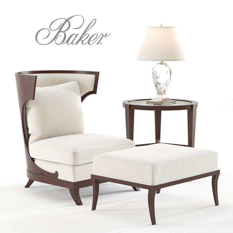 bakers atrium chair ottoman 3D