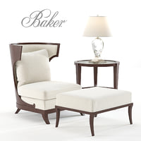 Baker Atrium Chair and Ottoman
