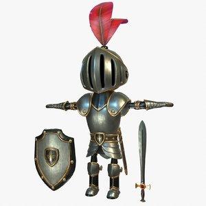 cartoon knight shield 3D model