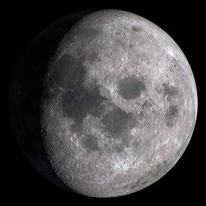 photorealistic earth s moon 3D model