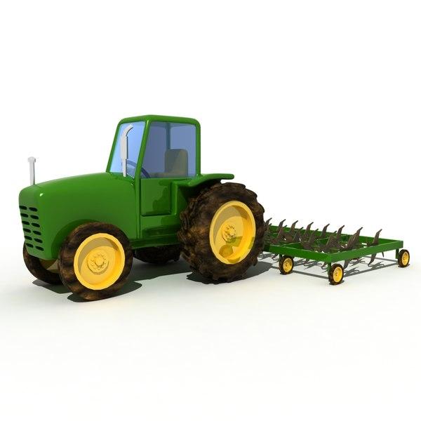 cartoon farm tractor 3D model