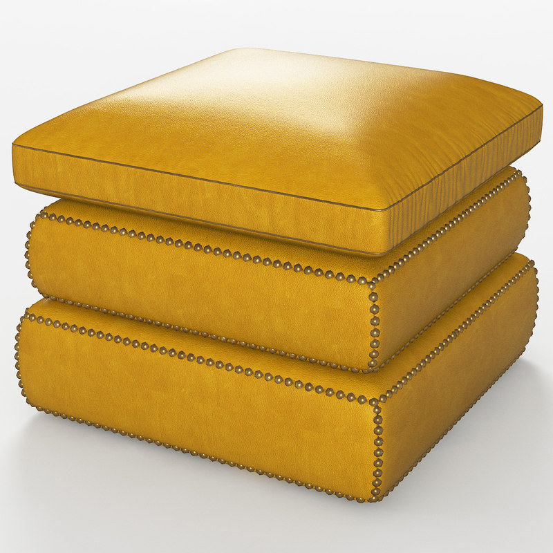 yellow leather pouf 3D