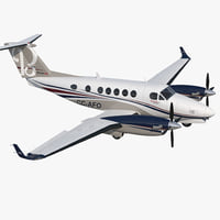 Civil Utility Aircraft Beechcraft Super King Air 250EP Rigged 3D Model