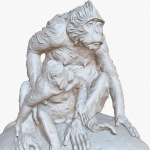 3D sculpture monkeys rock 1m model