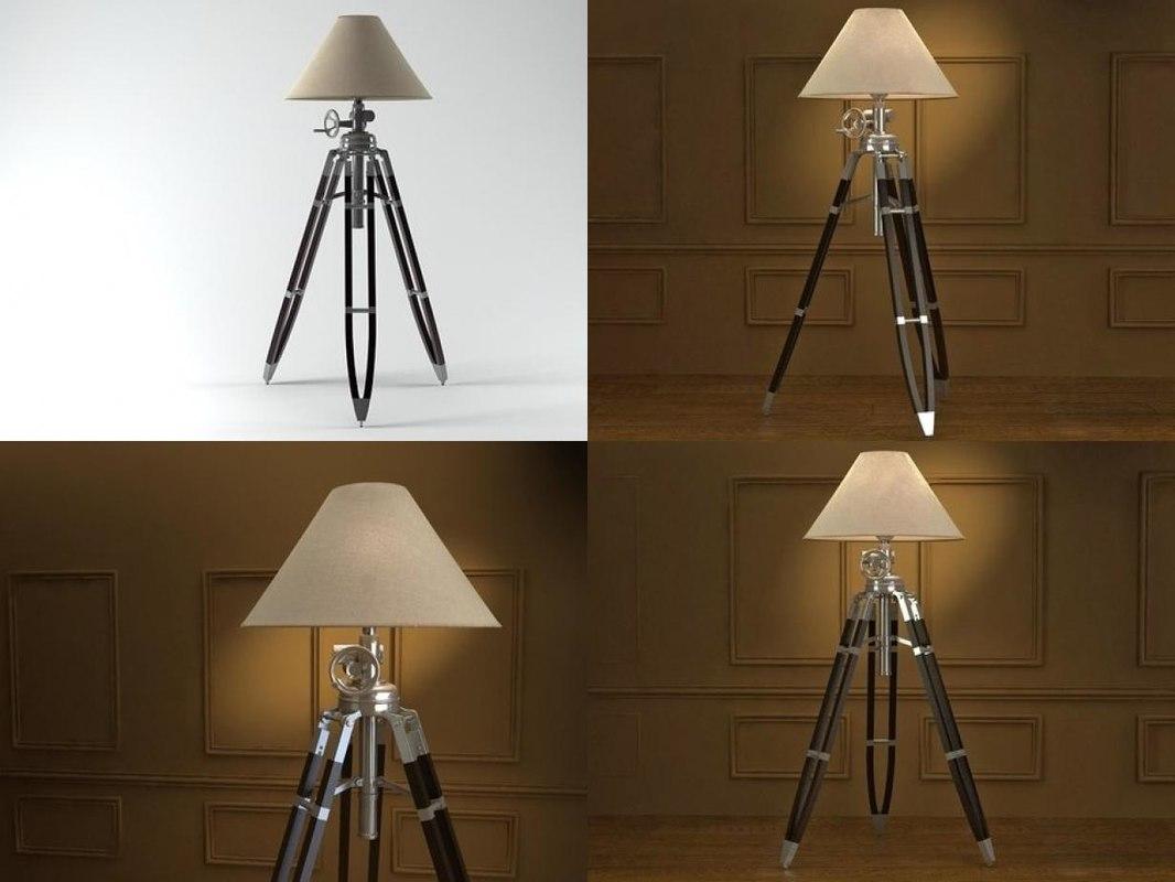 3D tripod floor lamp