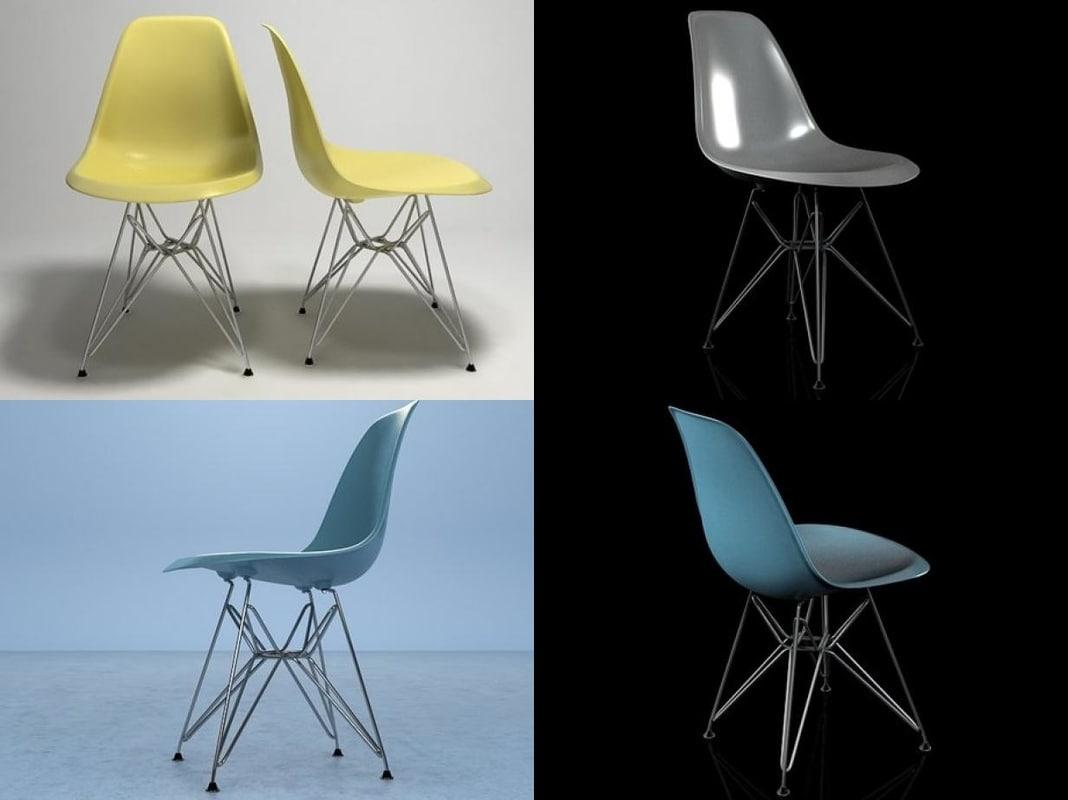3D eames plastic chair dsr model