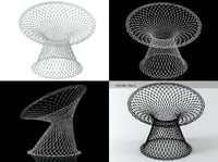 white fishnet chair 3D model