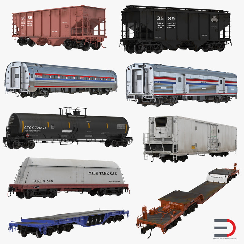 railroad wagons 3D model