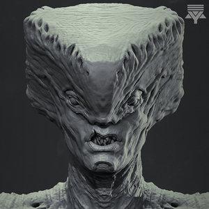 3D highpoly creature bust model