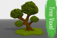 3D model voxel tree low-poly
