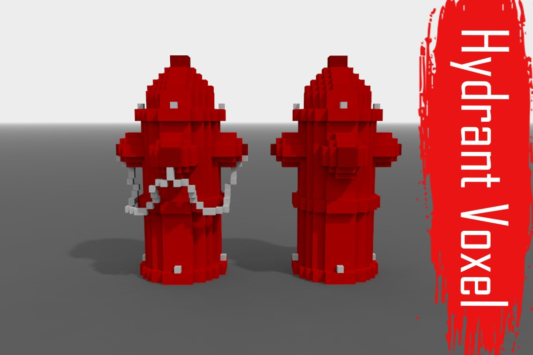 voxel hydrant low-poly 3D model