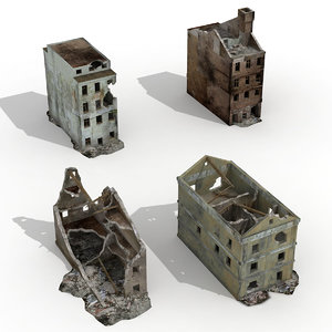 destroyed buildings 4 ruined 3D