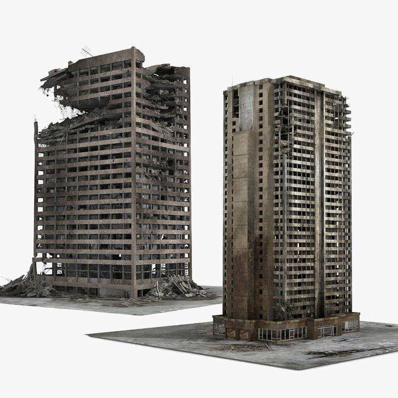 3D destroyed buildings 2 ruined