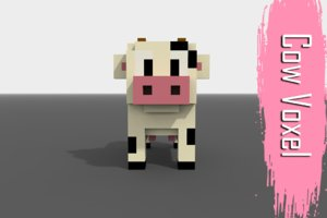 3D voxel cow low-poly