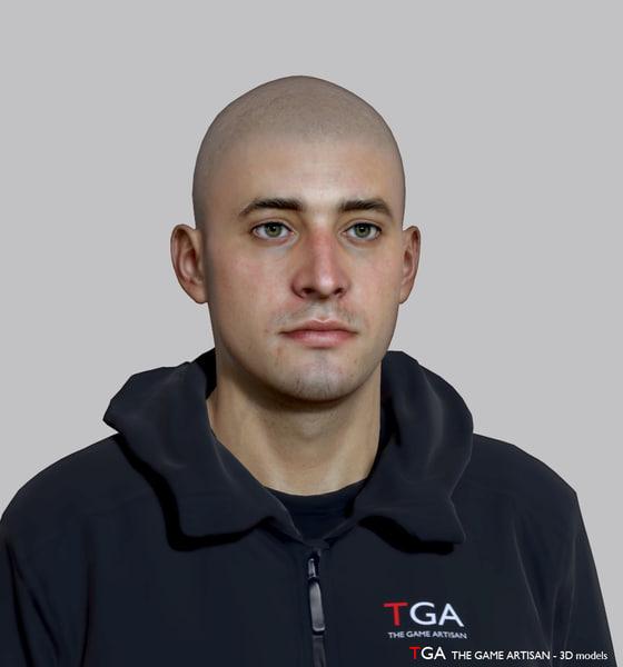 caucasian male head 6 3D