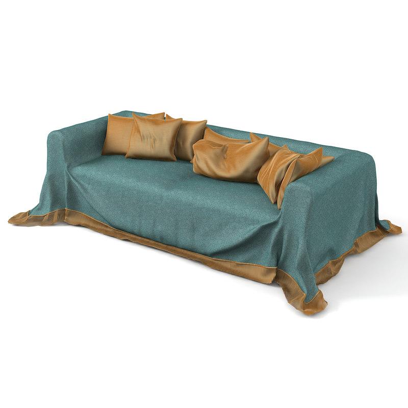 3D model drapered sofa