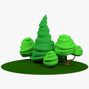 stylized trees 3D model