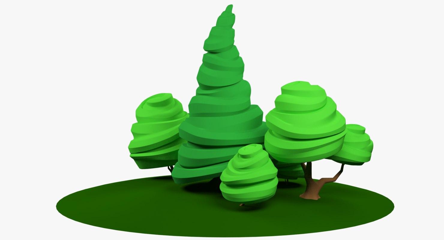 stylized trees 3D model