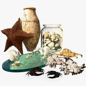 starfish sea set 3D model