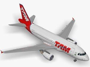 3D airbus a319-112 tam a319