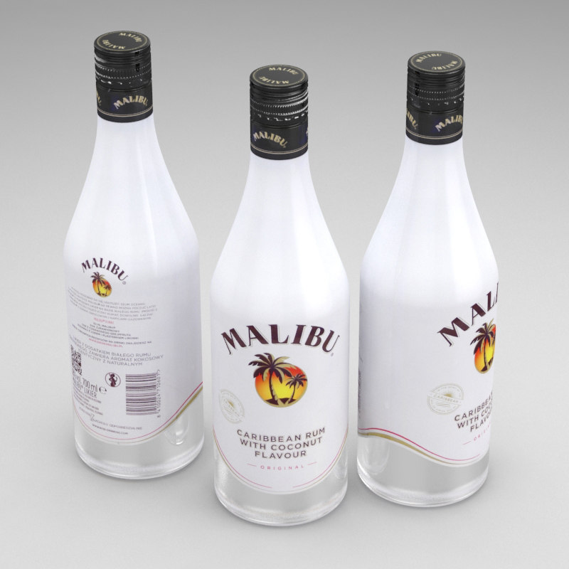 alcohol bottle malibu 700ml model