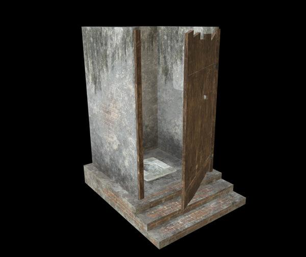 village cabin toilet 3D