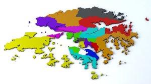 18 districts hong kong 3D model