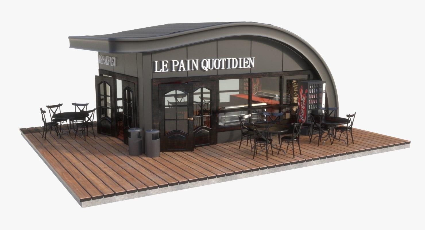 3D modern park cafe model