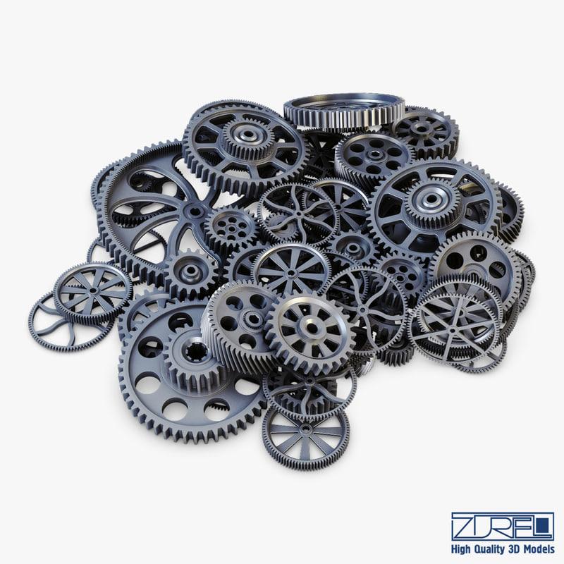 pile scattered gears v 3D model