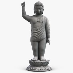 3D sculpture buddha boy model