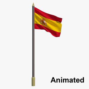 3D flag spain - animation model
