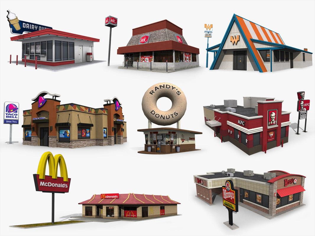 3D fastfood restaurants pack 2 model