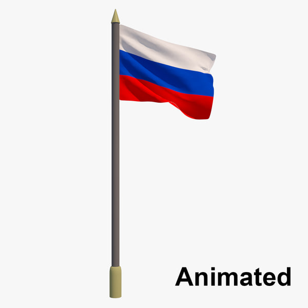 3D model flag russia - animation